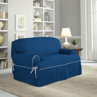 Perfect Fit® Classic Twill T-Loveseat Slipcover in Navy