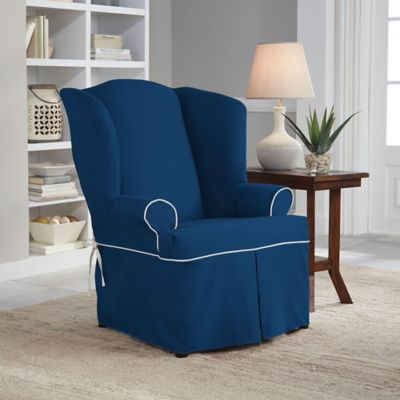 Perfect Fit® Classic Twill Wing Chair Slipcover In Navy