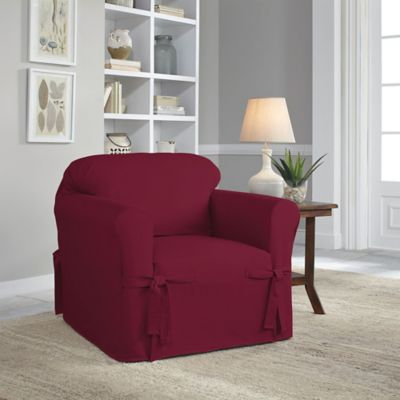 Amazing Perfect Fit® Classic Relaxed Fit Chair Slipcover In Garnet