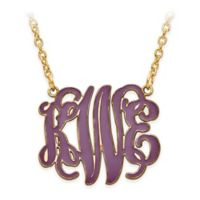 Gold Plated Sterling Silver 18-Inch Chain Small Laser-Cut Enamel Script Letters Pendant Necklace