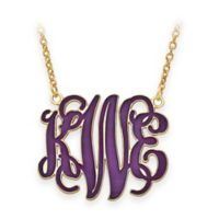Gold Plated Sterling Silver Medium 18-Inch Chain Laser-Cut Enamel Script Letters Pendant Necklace