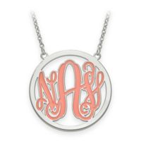 Sterling Silver 18-Inch Chain Enamel Script Letters Pendant Necklace