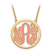 Gold Plated Sterling Silver 18-Inch Chain Enamel Script Letters Pendant Necklace
