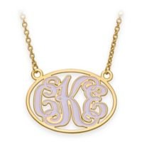 Gold-Plated Sterling Silver 18-Inch Chain Medium Enamel Oval Script Letters Pendant Necklace