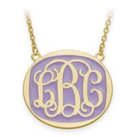 Gold-Plated Sterling Silver Large 18-Inch Chain Script Letters Enamel Oval Pendant Necklace