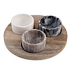 Artisanal Kitchen Supply® 4-Piece Marble and Wood Pinch Bowl Set
