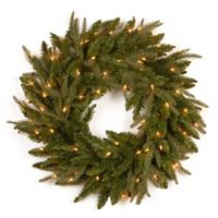 """National Tree Fraser Grande """"Feel-Real®"""" 24-Inch Pre-Lit Wreath with Clear Lights"""
