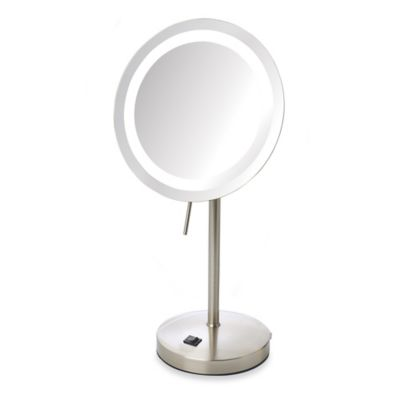 Jerdon 8X LED Lighted Vanity Mirror in Nickel. Buy LED Lighted Makeup Mirrors from Bed Bath   Beyond