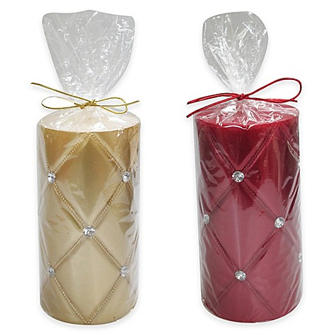 Metallic quilted rhinestone accent pillar candle bed for Shimmer pillar candle