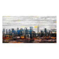 Parvez Taj Sunset in NYC 40-Inch x 20-Inch White Pine Wood Wall Art