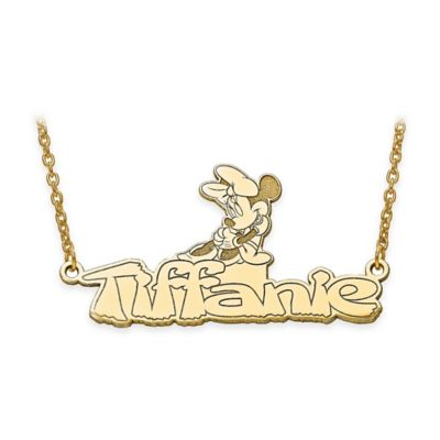 Nameplate necklaces from buy buy baby jewelry disney 14k gold plated sterling silver18 inch minnie mouse nameplate necklace aloadofball Images