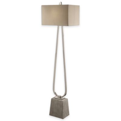 Uttermost carugo concrete foot floor lamp with dual column in polished nickel