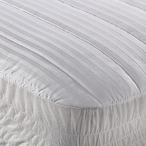 image of Wamsutta® Dobby Stripe Mattress Pad in White