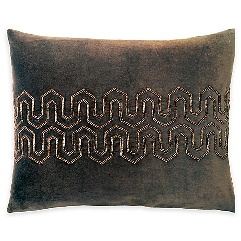 image of Beaded Velvet Oblong Throw Pillow in Brown