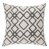 Surya Avellino 18-Inch Embroidered Geometric Square Throw Pillow in Charcoal