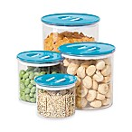 Oggi™ 4-Piece Round Stack-N-Store Canister Set in Aqua