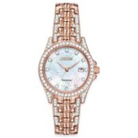 Citizen Eco-Drive Ladies' 28mm Silhouette Swarovski Crystal® Watch in Pink Stainless Steel