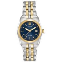 Citizen Eco-Drive Corso Ladies' 28mm Watch in Two-Tone Stainless Steel with Marine Blue Dial