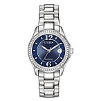 Citizen Eco-Drive Women's Silhouette Blue Dial Bracelet Watch w/Swarovski Elements in Stainless
