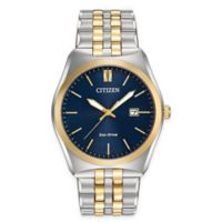Citizen Eco-Drive Corso Men's 40mm Watch in Two-Tone Stainless Steel with Marine Blue Dial