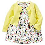 carter's Size 3M 2-Piece Floral Bodysuit Dress and Cardigan Set in Ivory/Yellow