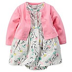 carter's Size 3M 2-Piece Floral Bodysuit Dress and Cardigan Set in Pink/Grey