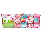 green sprouts® 5-Pack Bunny/Garden Wipe-Off Bibs in Fuchsia/Teal