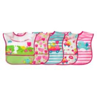 green sprouts® by i play.® 5-Pack Bunny/Garden Wipe-Off Bibs in Fuchsia/Teal