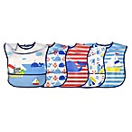 green sprouts® 5-Pack Whale/Sailboat Wipe-Off Bibs in Blue/Red