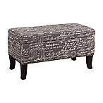 Stephanie Script Patterned Linen Bench in Grey