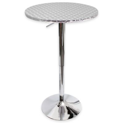 LumiSource Bistro Round Bar Table In Silver