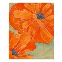 Wild Poppy in Tangerine II 14-Inch x 18-Inch Wood Wall Art