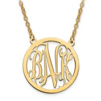 10K Yellow Gold 18-Inch Chain Script Letters Large Circle Pendant Necklace