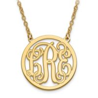 14K Gold-Plated Sterling Silver 18-Inch Chain Script Letters Small Circle Pendant Necklace