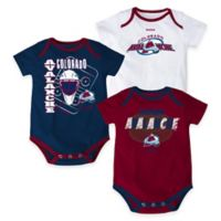 "NHL Colorado Avalanche ""3 Point Spread"" Size 3-6M Bodysuit Set (Set of 3)"
