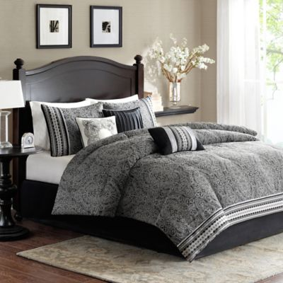 madison park barton 7piece california king comforter set in black - Cal King Comforter Sets