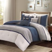Madison Park Palisades 7-Piece Reversible Queen Comforter Set in Blue