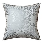 Rizzy Home Holiday Collection Foiled Print Square Throw Pillow in Ivory/Silver