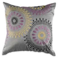 Rizzy Home Applique and Embroidered Square Throw Pillow in Silver/Purple
