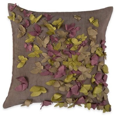 rizzy home butterfly applique square throw pillow in purple