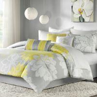 Madison Park Lola 7-Piece Reversible Queen Comforter Set in Grey/Yellow