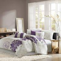 Madison Park Lola 7-Piece Reversible Queen Comforter Set in Grey/Purple