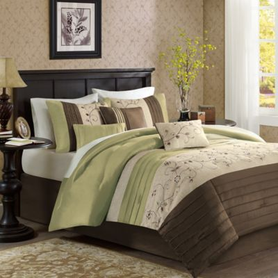 madison park serene 7piece california king comforter set in green