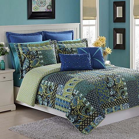 Buy Fiesta 174 Marchia Reversible Twin Quilt Set In Lapis