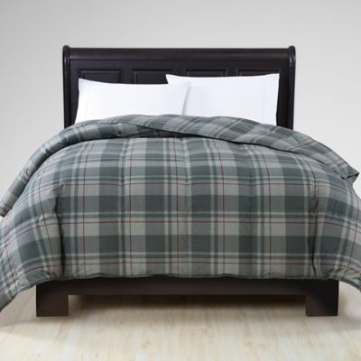 vcny down alternative king comforter in greyplaid - King Down Comforter
