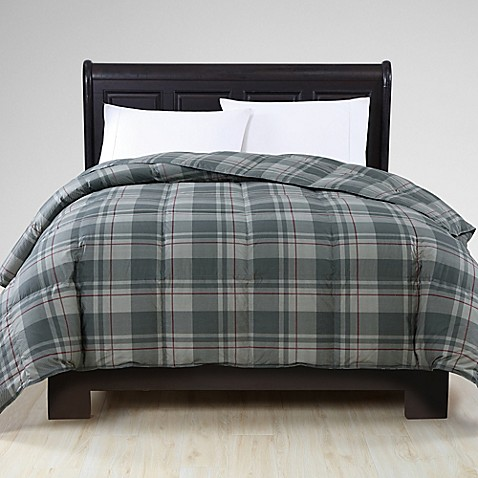 Buy vcny down alternative king comforter in grey plaid from bed bath beyond for Home design down alternative color king comforter