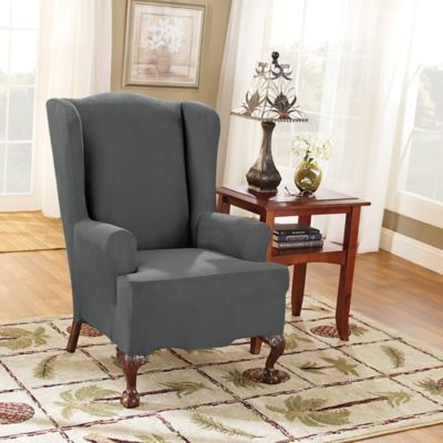 Sure Fit® Stretch Suede Wing Chair Slipcover In Carbon