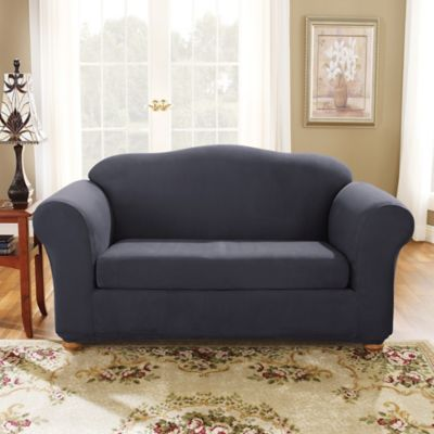 sure fit stretch suede bench seat loveseat slipcover in storm blue