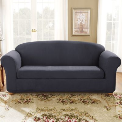 Sure Fit® Stretch Suede Bench Seat Sofa Slipcover In Storm Blue