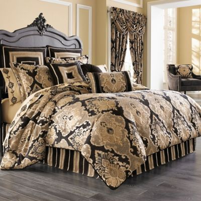 j queen new york bradshaw black california king comforter set in black